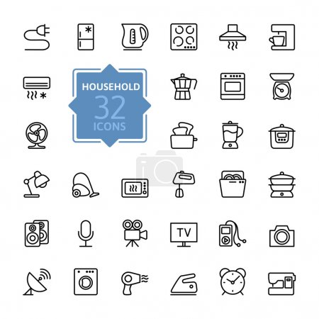 Outline icon collection - household appliances