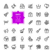 Outline web icon set - Party Birthday celebration