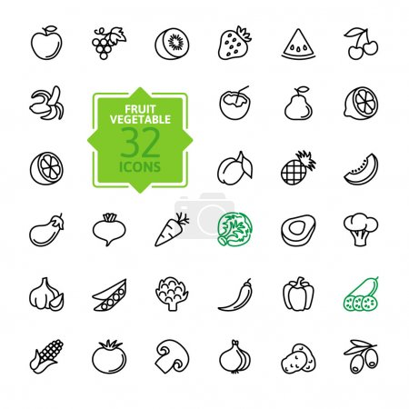 Illustration for Thin lines pictogram collection- Fruit and Vegetables - Royalty Free Image