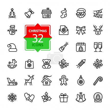 Illustration for Outline icon collection - Christmas set - Royalty Free Image