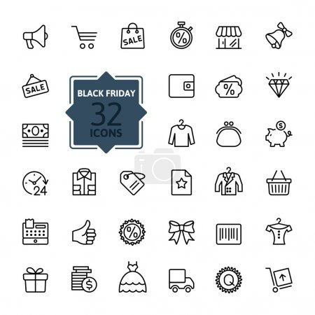 Illustration for Outline icon collection - Black Friday Big Sale - Royalty Free Image