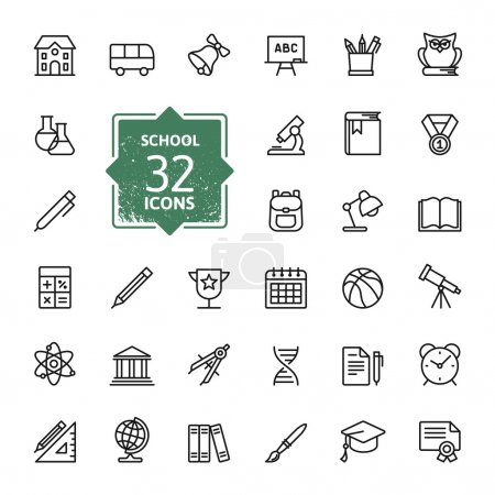 Illustration for Outline icon collection - School education - Royalty Free Image