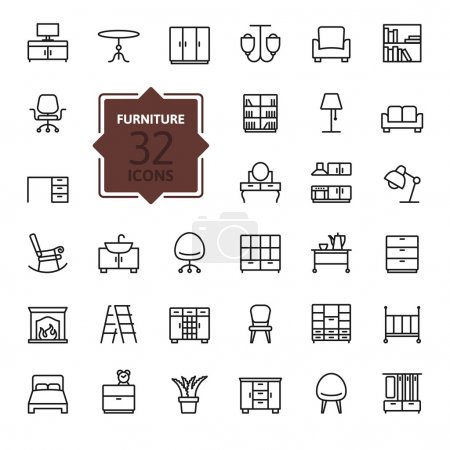 Illustration for Thin lines web icon set - Royalty Free Image