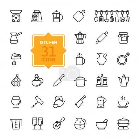 Illustration for Outline icon collection - cooking, kitchen tools and utensils - Royalty Free Image