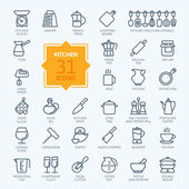 Outline icon collection - cooking kitchen tools and utensils
