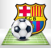 Football field with ball and football clubs barcelona logo