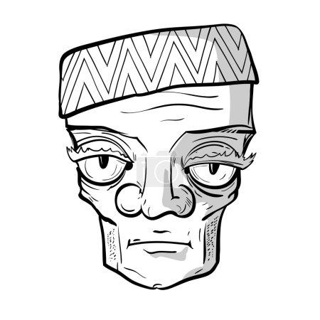 Sketchy portrait of strange sad old man. Vector gr...
