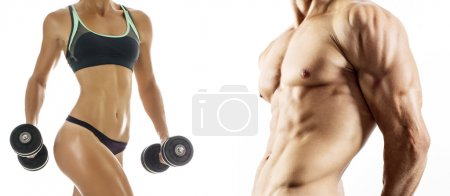 Bodybuilding. Strong man and a woman