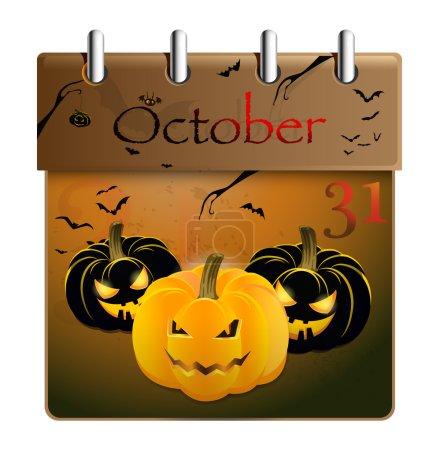 Halloween concept pumpkin and calendar on 31th of October