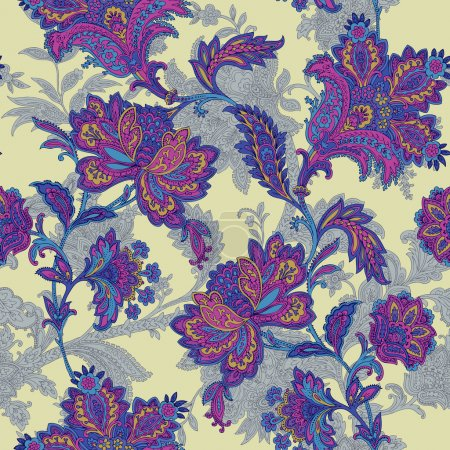 Illustration for Elegance Seamless pattern with ornament, vector floral illustration in vintage style - Royalty Free Image