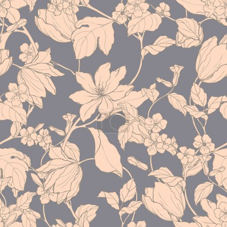 Illustration for Elegance Seamless pattern with flowers magnolia and tulips, vector floral illustration in vintage style - Royalty Free Image