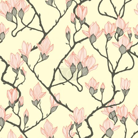 Vintage seamless pattern with apple flowers Seamless texture.