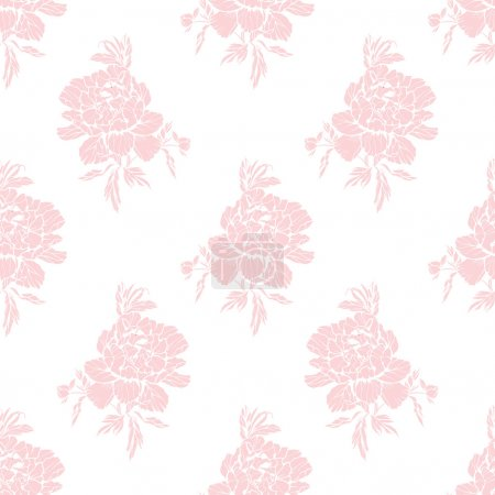 Seamless pattern with flowers peonies, vector floral illustration