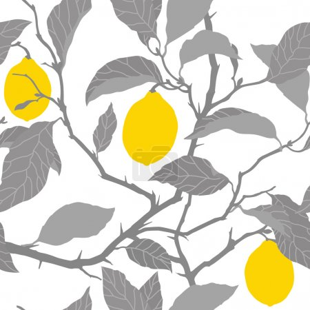 Illustration for Elegance Seamless pattern with lemon tree ornament, vector floral illustration in vintage style - Royalty Free Image