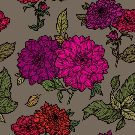 Seamless pattern with dahlias flowers ornament