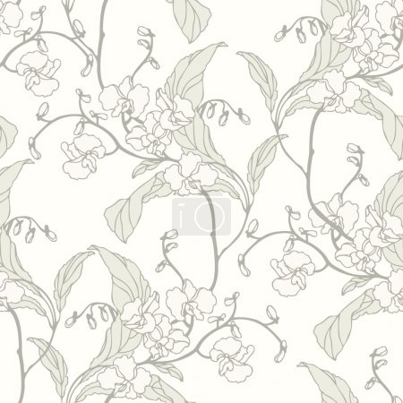 Illustration for Elegance Seamless pattern with flowers orchids, vector floral illustration in vintage style - Royalty Free Image