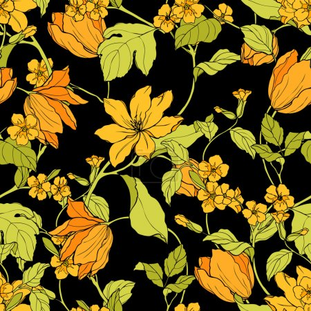 Seamless pattern with flowers Magnolia and tulips