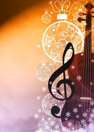 Photo pour Affiche ou fond de dépliant de concenrt de musique d'avent ou de Noel avec l'espace vide - image libre de droit