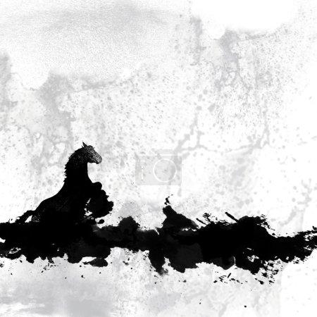 Photo pour Affiche de cheval grunge ou fond de dépliant avec l'espace vide - image libre de droit