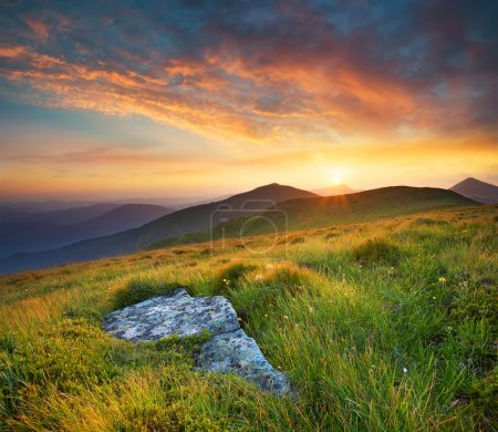 Photo for Bright sunset in mountain in summer time. Beautiful natural landscape - Royalty Free Image