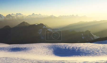 Photo for High mountain range during sunrise. Beautiful natural landscape - Royalty Free Image