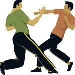 Two men practice a self-defense martial art, vecto...