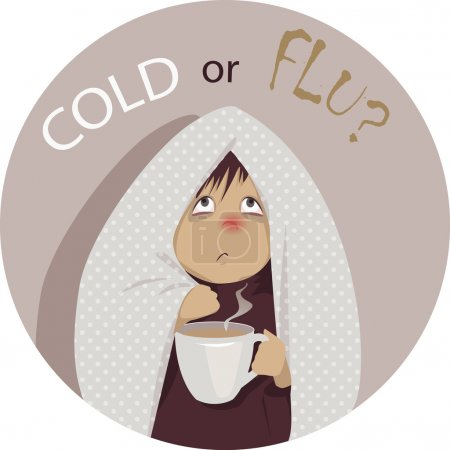 """Illustration pour Une personne malade, enveloppée dans une couverture, tenant une tasse de boisson chaude et regardant la question """"Froid ou grippe ?"""" au-dessus de sa tête, aucune transparence EPS 8 dessin animé vectoriel - image libre de droit"""