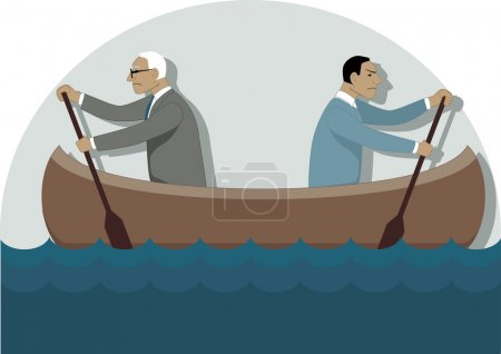 Two businessmen, one young and one older, rowing i...