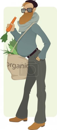 Illustration for Bearded man with a tote bag filled with greens eating a carrot, vector illustration, no transparencies, EPS 8 - Royalty Free Image