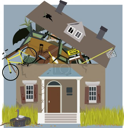 Illustration for A house, bursting from piles of things, accumulated inside, vector illustration - Royalty Free Image