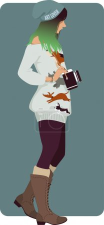 Illustration for Hipster girl with a vintage photo camera - Royalty Free Image
