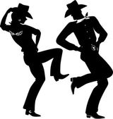 Silhouette of a cowboy and cowgirl dancing country-western no white EPS 8