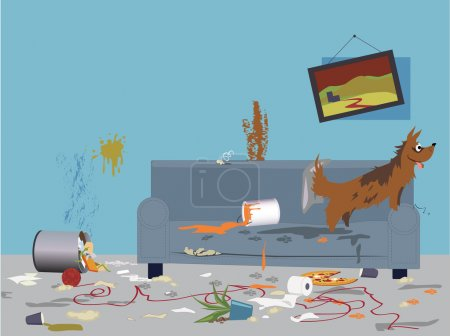 Illustration for Interior of a very messy room, turned upside down by an energetic happy dog, sitting on a torn dirty couch, vector illustration, no transparencies, EPS 8 - Royalty Free Image