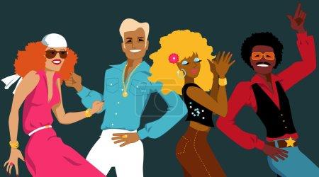 Illustration pour Groupe de jeunes habillés dans les années 1970 danse de mode disco, illustration vectorielle, pas de transparences, EPS 8 - image libre de droit