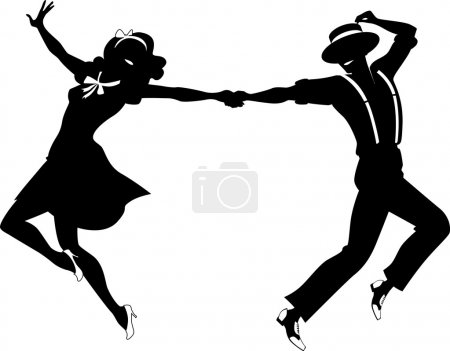 Black vector silhouette of a couple dancing swing ...