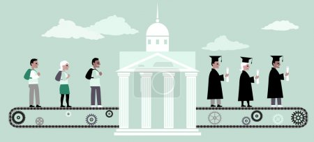 Illustration for Young people riding a conveyor belt to the university building, from the other side people in graduation caps and capes coming out of it, vector illustration, no transparencies, EPS 8 - Royalty Free Image