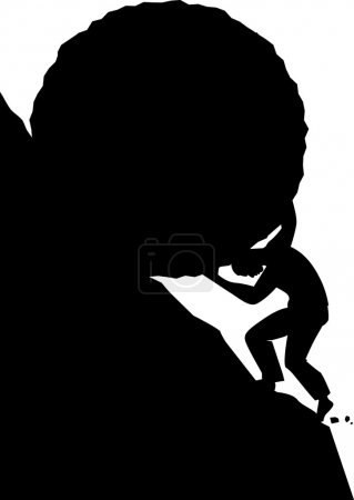 Black vector silhouette of a man, pushing a boulde...