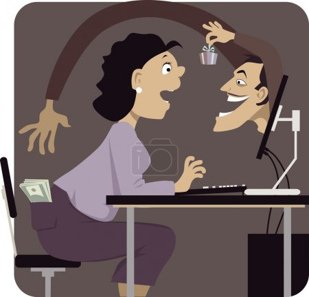 Online scammer reaching to steal money from woman's pocket, distracting her with a gift or a freebie, vector illustration, EPS 8