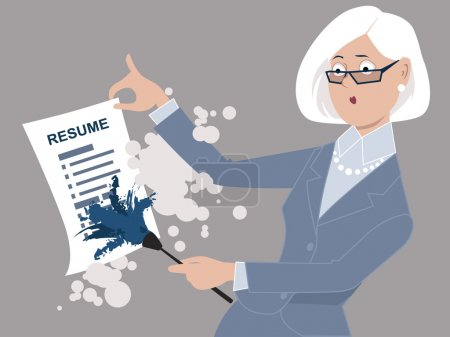 Senior woman dusting off her resume, returning to ...