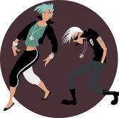 Cool funny rock and roll couple dancing on a circular background EPS 8 vector illustration no transparencies