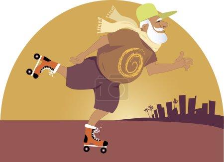 Illustration pour Joyeux patinage à roulettes homme âgé, fond de ville du sud, illustration vectorielle EPS 8, aucune transparence - image libre de droit
