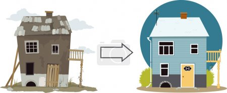 Illustration for Rundown derelict shack turning into a cute cottage, EPS 8 vector illustration, no transparencies - Royalty Free Image
