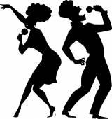 Singing duet silhouette