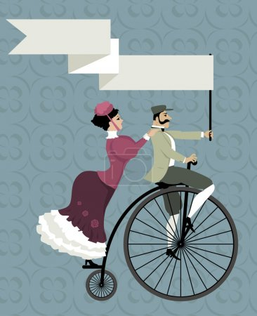 Retro invitation with a biking couple