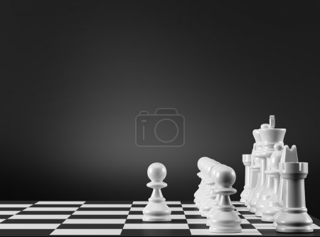 Photo for Black and White Chess Strategy. The first step. - Royalty Free Image