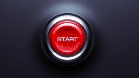 Foto de Inicio botón aislado sobre fondo oscuro - Imagen libre de derechos
