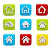 Domů ikony izolovaných na bílém