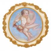 """Постер, картина, фотообои """"золотая рамка с ангелом"""""""