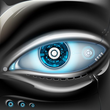 Illustration pour Robot oeil de métal. Interface futuriste. Illustration vectorielle de stock . - image libre de droit