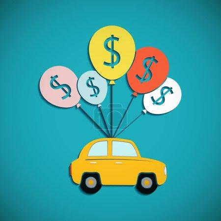Illustration pour La voiture est accrochée aux ballons. Crédit pour l'achat de véhicules. Graphique plat. Illustration vectorielle de stock . - image libre de droit